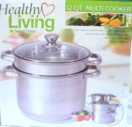 12 Qt Stock Pot with Steamer Insert and Colander to Boil Pas