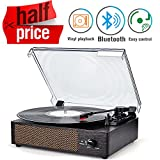 Record Player Portable Bluetooth LP Belt-Drive 3-Speed Turntable with Built in Stereo Speakers, Vintage Style Vinyl...