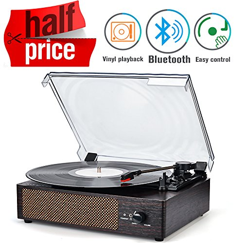 Record Player Portable Bluetooth LP Belt-Drive 3-Speed Turntable Built in Stereo Speakers, Vintage Style Vinyl Record Player (Vintage Style-Brown) (Portable Turntables Drive)