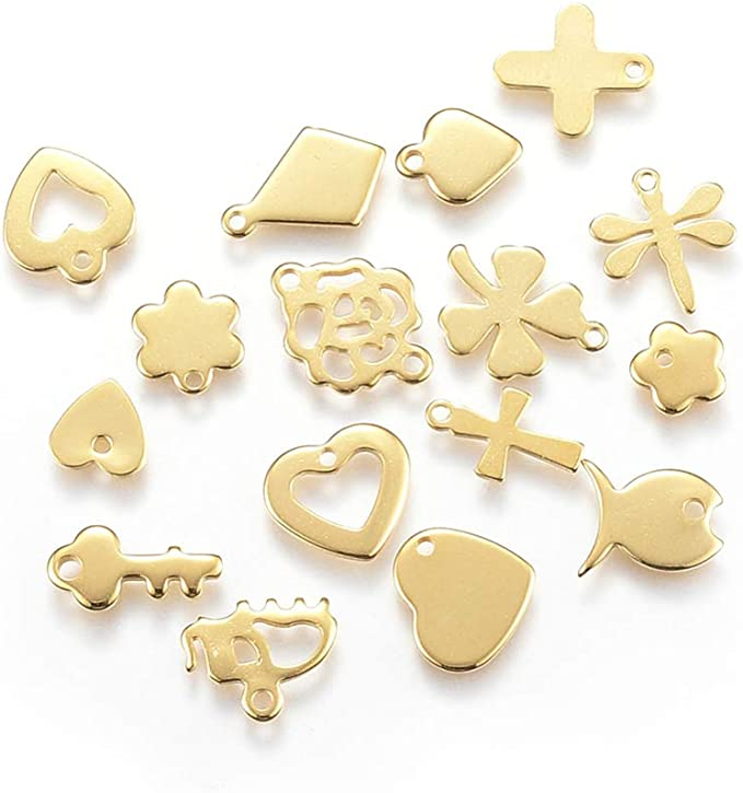 DanLingJewelry Random Letter Charms 304 Stainless Steel Mixed Alphabet A-Z Charms Assorted for Jewelry Making and DIY Stainless Steel Color, 150-200pcs