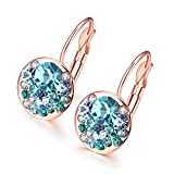 Czech drill jewelry Rose gold plated Blue White Purple Earrings Clip earrings for womens E2023
