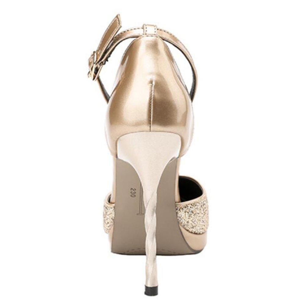 Mode Spitze Heels Schuhe Nachtclubs Sexy Plattformen Stiletto Wort Strap Sandalen Stiletto Plattformen Pumps Für Party Reise Gericht Silver e33396