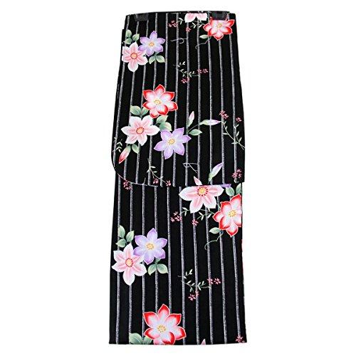 カップ豊かにする幽霊浴衣 レディース -47- トールサイズ 綿100% 黒 赤 縞 花柄