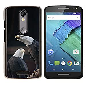Caucho caso de Shell duro de la cubierta de accesorios de protección BY RAYDREAMMM - Motorola MOTO X3 3rd - símbolo nacional americana águila calva