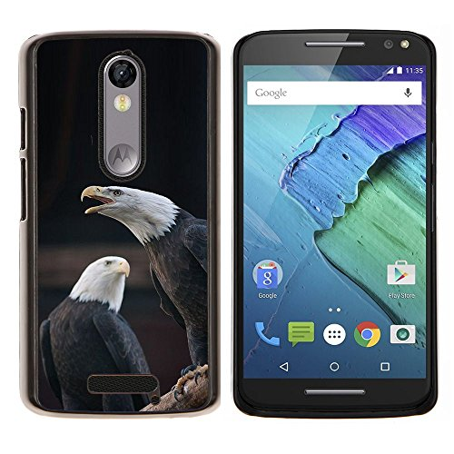 Eagle Bald American National Symbol - Aluminum Metal&Hard Plastic Back Case Cover - Black - Motorola Droid Turbo 2 / Moto X Force