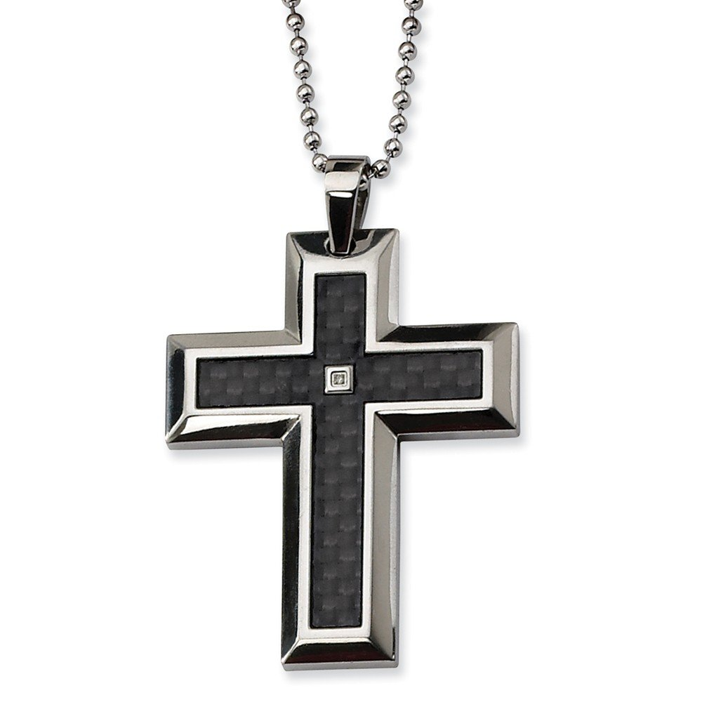 """Stainless Steel Blk Carbon Fiber Inlay .01ct. Diamond Accent Cross Necklace Chain 24"""" (2mm)"""