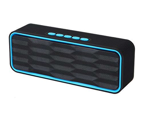 Leting SP8 Wireless Speaker with HD Audio and Enhance Bass, Dual Driver Handsfree Calling FM and MP3 Music Player (SP8 Blue)