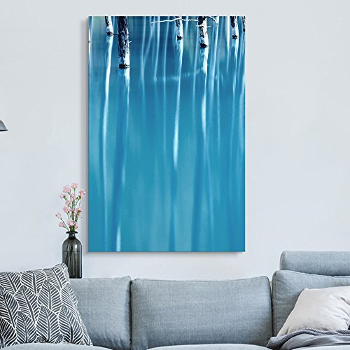 Oil Painting Style Abstract Trees in Blue Water Gallery