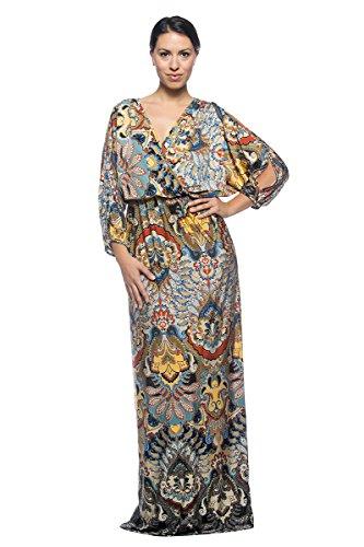 [Women's Plus Caftan Kimono Style Exotic Asian Japanese Pattern Long Maxi Dress (2XL)] (70s Maxi Dress)