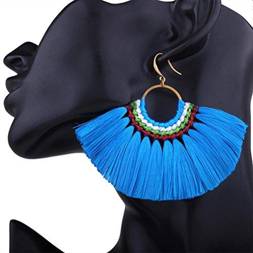 DZT1968 Women charmer Bohemian sector Tassel Fringe Dangle hooks Earrings Jewelry (Blue)