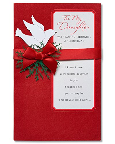 American Greetings Loving Thoughts Christmas Card for Daughter with Ribbon (5777127)