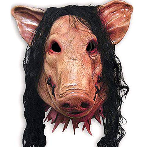 CHAI Halloween Mask Pig Head Scary Masks Novelty with Hair Caveira Cosplay Costume Latex Festival Supplies]()
