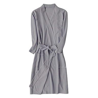 Goldatila Men s Bathrobes Couple Thin Section Waffle Robe Luxury Home  Casual Pajamas Terry Towel Shawl Collar Bath Robe Perfect for Gym Shower  Spa Hotel ... 72373ae70