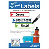 Emily Press Labels - Write Your Own Waterproof School Labels for Kids Lunch Boxes, Water Bottles & School Supplies - Stripes design. BPA-Free, Eco
