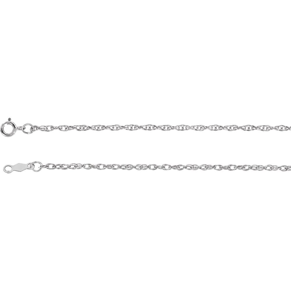 Length Options 14k White Gold Necklace 1.5mm Rope Chain With Spring Ring 16 18 20 24