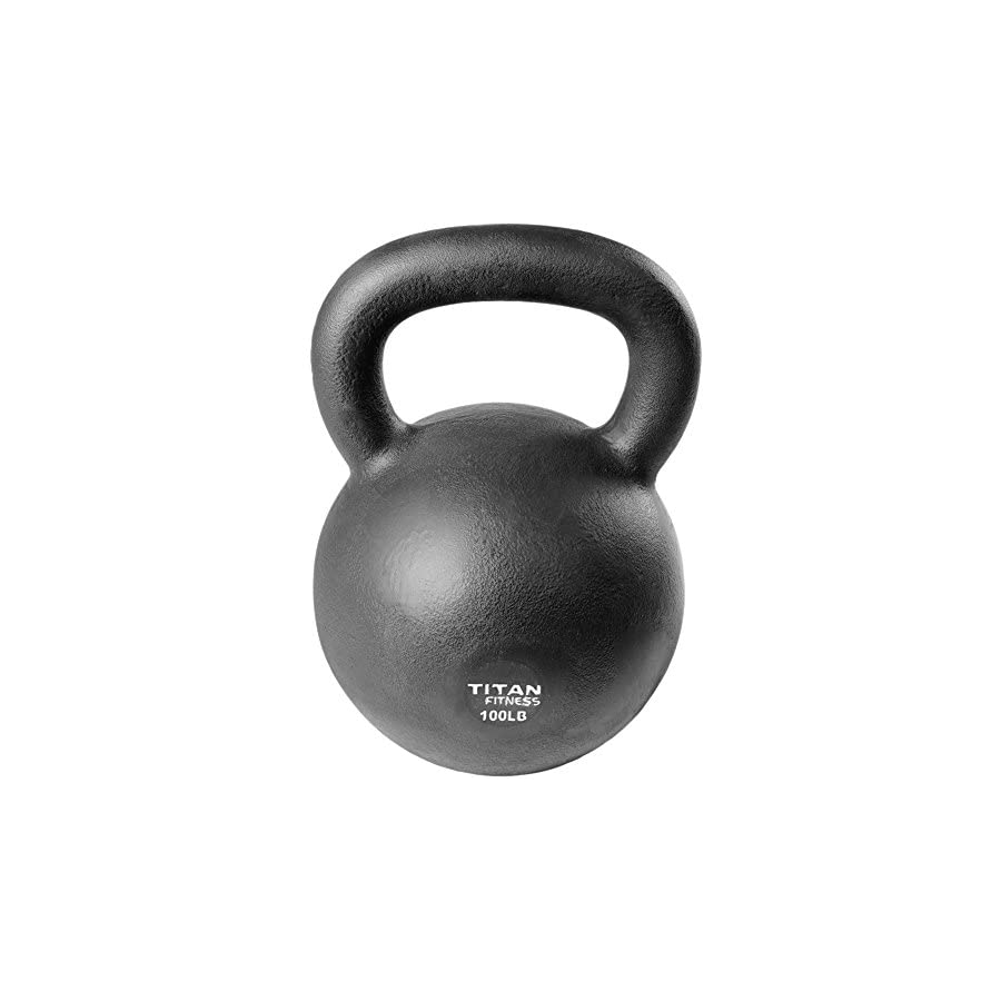Titan Fitness Cast Iron Kettlebell Weight 100 lb Natural Solid Workout Swing