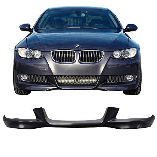 Front Bumper Lip Fits 2007-2010 BMW E92 E93 | M-Tech Style Unpainted Black PP Front Lip Finisher Under Chin Spoiler Add On by IKON MOTORSPORTS | 2008 2009