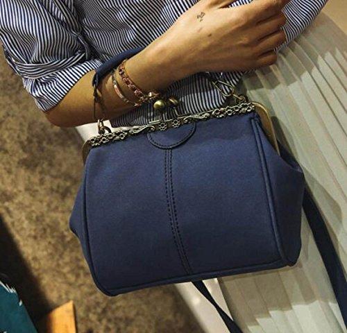 Bolsos Bolsos Bolsos Moda Salvaje Bolsos Retro Clip Hombro Bolsa De Mensajero Blue