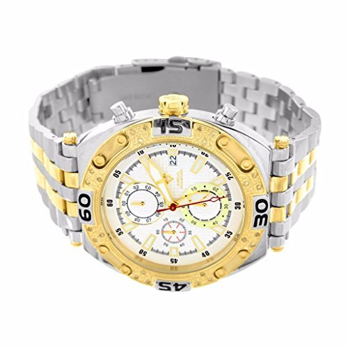 Mens Real Diamond Aqua Master Watch For Sale 2 Tone Stainless Steel Water Resistant New ()