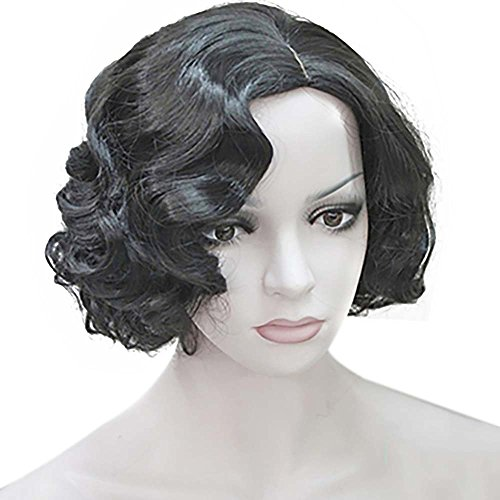 Wraith of East Vintage Short Curly Flapper Wavy Wigs Adult Women Ladies Party Hair (Curly Flapper Black Wig)