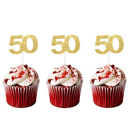 - HZOnline Cupcake Toppers 50th,Golden Glitter Number 50, Birthday Celebrating,Anniversary Party Decor,24 PCS