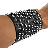 HZMAN Black Genuine Leather Silver Stud Wristband 80s Gothic Punk Glam Emo (1 Pack) (Black 1)