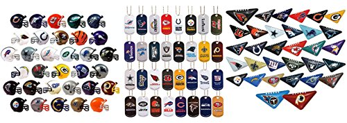 Mini Nfl Football Helmets, Table TOP Footballs, and Dog Tags Complete Sets of 32 Each, Total 96 Licensed Items -
