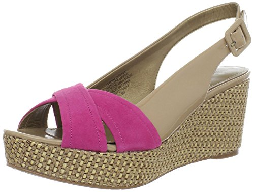 Circa Joan David Sandals (Circa Joan & David Women's Walbridge Patent Wedge Sandal,Nude/ Dark Pink,10 M US)