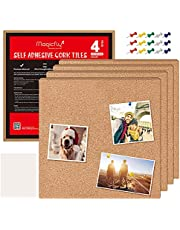Magicfly Square Self-Adhesive Cork Boards, 12 x 12 Inch Natural Cork Tiles, Mini Wall Bulletin Board for Notes, Pictures, Coasters, DIY Drafts, Pack of 4, Bonus 40 Push Pins
