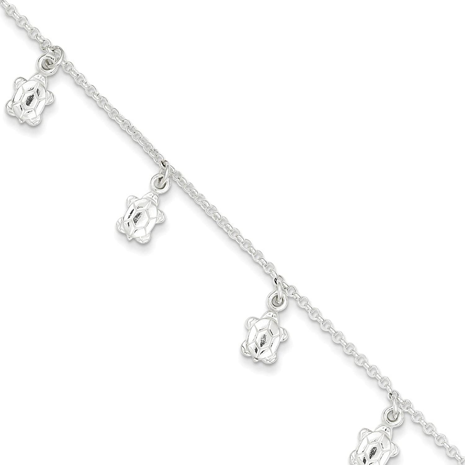 """.925 Sterling Silver 2.00MM Polished Turtle Anklet Bracelet With 1"""" Extender, 9 Inches"""