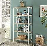Homissue 5-Tier Modern Industrial White Bookshelf, Display Storage Rack for Living Room, Office Open Wide Etagere Bookcases Furniture, Light Oak Shelves