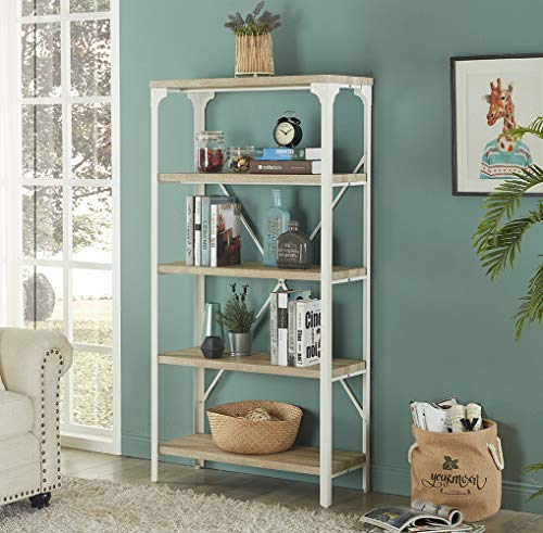 Homissue 5-Tier Modern Industrial White Bookshelf, Display Storage Rack for Living Room, Office Open Wide Etagere Bookcases Furniture, Light Oak -
