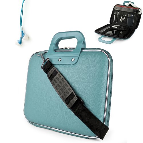 Uniquely designed SumacLife Brand Blue Ultra Durable Reinforced 12 Inch Cady Hard Shell Sports Bag for all models of the Samsung Chromebook 11.6 Inch (Samsung Series 5 550 Chromebook, Wifi, 3G, 11.6, XE303C12-A01US) + Earphones (Samsung Chromebook 550)