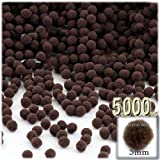 The Crafts Outlet Pom Poms, solid Color, 5mm/0.20-inch, 5000-pc, Coffee Brown