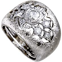 Buccellati 18K White Gold Diamond Wide Band Ring