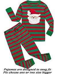 Boys Girls Christmas Pajamas Reindeer Cotton Toddler...
