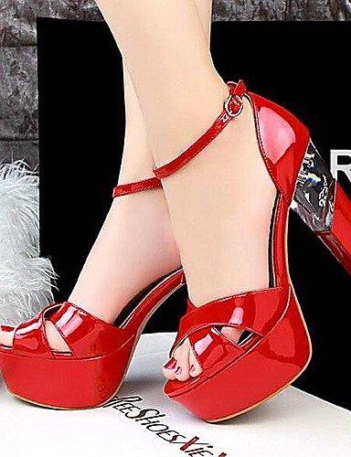 LFNLYX Zapatos de mujer-Tacón Robusto-Punta Abierta / Plataforma-Sandalias-Boda / Vestido / Fiesta y Noche-Cuero Patentado-Negro / Rojo / Blanco Silver