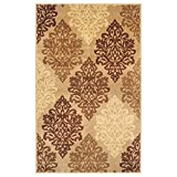 Superior Danvers Collection Area Rug, Modern Elegant Damask Pattern, 10mm Pile Height with Jute Backing, Affordable Contemporary Rugs – Beige, 8′ x 10′ Rug