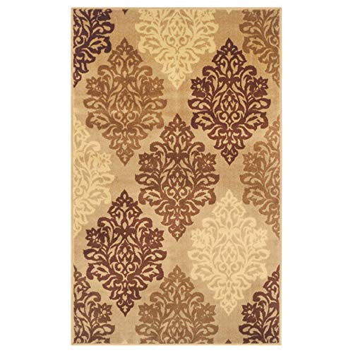 Beige Contemporary Rug - Superior Danvers Collection Area Rug, Modern Elegant Damask Pattern, 10mm Pile Height with Jute Backing, Affordable Contemporary Rugs - Beige, 8' x 10' Rug