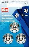 PRYM 341252 Annähdruckknöpfe Messing 21mm silberfarbig, 3 Stück