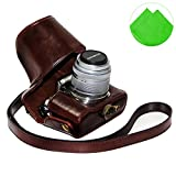 First2savvv XJPT-EPL5-10G11 dark brown full body Precise Fit PU leather digital camera case bag cover with shoulder strap for Olympus pen E-PL5 EPL5 E-PL6 EPL6 E-PM2 EPM2 with 14-42mm Lens + Cleaning cloth