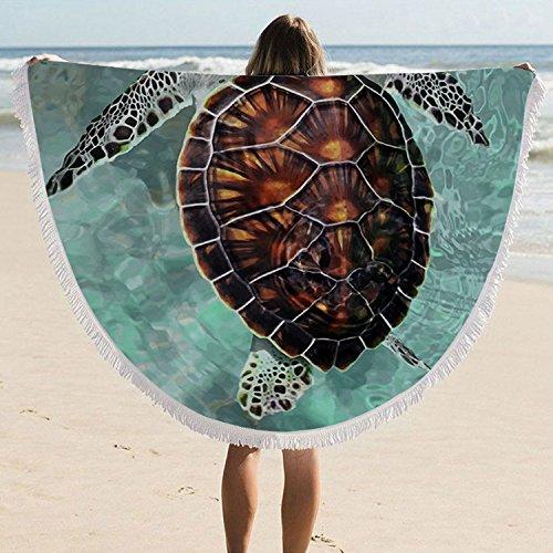 ARIGHTEX Sea Turtle Beach Towel Turquoise Round Tablecloth Teens Round Beach Towel Blanket with Tassels Beaches Decoration Kingtex