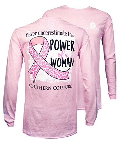 Southern Couture SC Classic Power of a Woman on Long Sleeve Womens Classic Fit T-Shirt - Light Pink, Medium