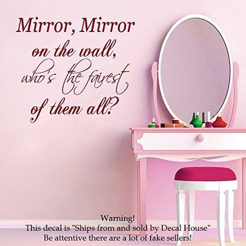 Wall Decals Vinyl Decal Sticker Family Quote Mirror Mirror On The Wall  Whou0027s The Fairest Of Them All Home Interior Design Fashion Girl Beauty  Salon Living ... Part 12