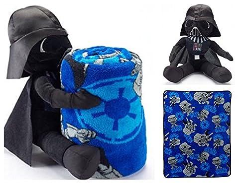 Star Wars Darth Vader Super Plush Cuddle Blanket and Character Pillow Toy - Kids (Star Wars Darth Vader Blanket)