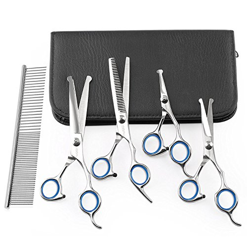 Dog Grooming Scissors Set, ihoven 5 PCS Safety Round-tip Stainless Steel Pet Hair Trimming Scissors Kit Straight Curved Thinning Shears Set Durable Home Eye Cutter for Dogs and Cats with Comb (White) (Stainless Tip Round)