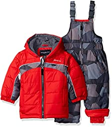London Fog Baby 2 Piece Camo Snow Pant Set With Jacket, Red, 24 Months