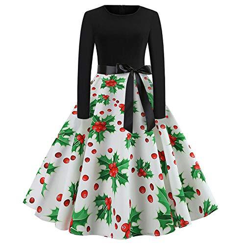 JOFOW Womens Christmas Umbrella Dresses Long Sleeve Berry Print O Neck A Line High Waist Strappy Drawstring Tunic Swing Midi (M =US:2-4,White-Berry) -