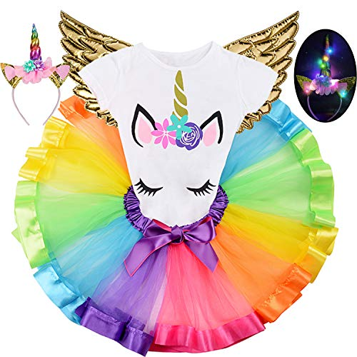 AMENON Unicorn Tutu Dress for Girls Kids Birthday Party Unicorn Costume Outfit with Headband Green, L (Fits 4-8T)