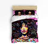 YEHO Art Gallery 4 Piece Duvet Cover Set Include 1 Comforter Cover 1 Bed Sheets 2 Pillow Cases African Women Graffiti Painting,Washable Luxury Bedding Set,Queen Size